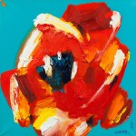 Цветок на бирюзовом фоне  60х60, холст, масло, 2009