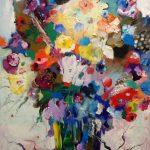 Цветы на светлом фоне - 120х100 - холст, масло - 2016